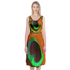 Peacock Feather Eye Midi Sleeveless Dress