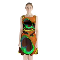 Peacock Feather Eye Sleeveless Chiffon Waist Tie Dress