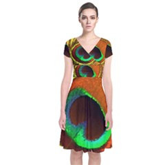 Peacock Feather Eye Short Sleeve Front Wrap Dress
