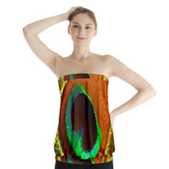 Peacock Feather Eye Strapless Top