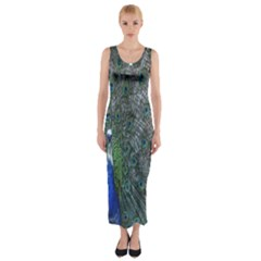 Peacock Four Spot Feather Bird Fitted Maxi Dress