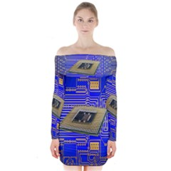 Processor Cpu Board Circuits Long Sleeve Off Shoulder Dress