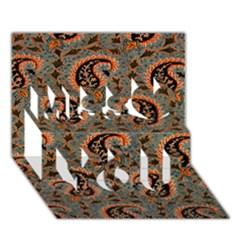 Persian Silk Brocade Miss You 3D Greeting Card (7x5)