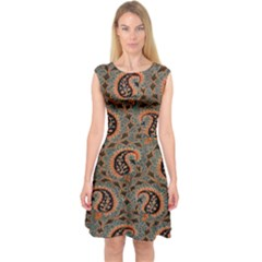 Persian Silk Brocade Capsleeve Midi Dress
