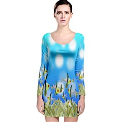 Pisces Underwater World Fairy Tale Long Sleeve Velvet Bodycon Dress
