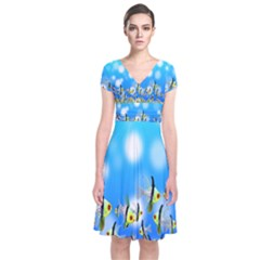 Pisces Underwater World Fairy Tale Short Sleeve Front Wrap Dress