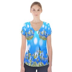 Pisces Underwater World Fairy Tale Short Sleeve Front Detail Top