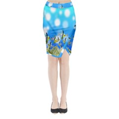 Pisces Underwater World Fairy Tale Midi Wrap Pencil Skirt