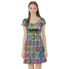 Psychedelic 70 S 1970 S Abstract Short Sleeve Skater Dress