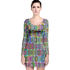 Psychedelic 70 S 1970 S Abstract Long Sleeve Velvet Bodycon Dress