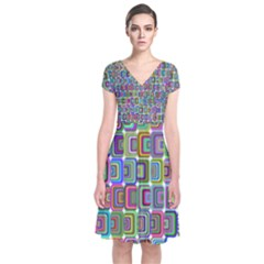 Psychedelic 70 S 1970 S Abstract Short Sleeve Front Wrap Dress