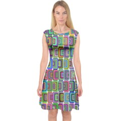 Psychedelic 70 S 1970 S Abstract Capsleeve Midi Dress