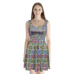 Psychedelic 70 S 1970 S Abstract Split Back Mini Dress