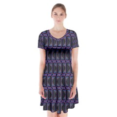 Psychedelic 70 S 1970 S Abstract Short Sleeve V-neck Flare Dress