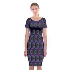Psychedelic 70 S 1970 S Abstract Classic Short Sleeve Midi Dress