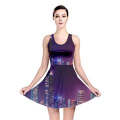 Raised Building Frame Reversible Skater Dress