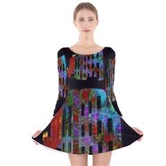 Science Center Long Sleeve Velvet Skater Dress