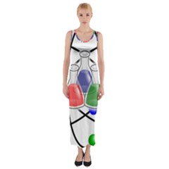 Science Symbol Fitted Maxi Dress