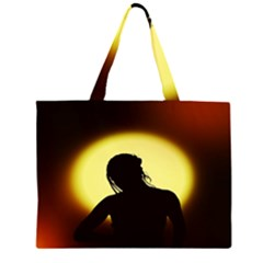 Silhouette Woman Meditation Large Tote Bag