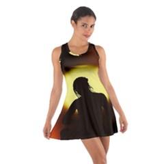 Silhouette Woman Meditation Cotton Racerback Dress