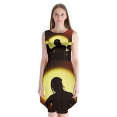 Silhouette Woman Meditation Sleeveless Chiffon Dress
