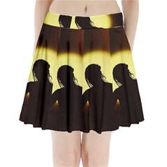 Silhouette Woman Meditation Pleated Mini Skirt