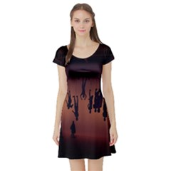 Silhouette Of Circus People Short Sleeve Skater Dress