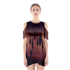 Silhouette Of Circus People Cutout Shoulder Dress