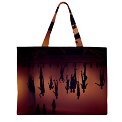 Silhouette Of Circus People Large Tote Bag