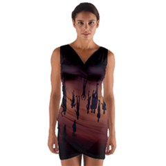 Silhouette Of Circus People Wrap Front Bodycon Dress