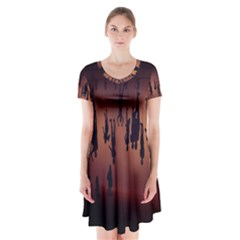 Silhouette Of Circus People Short Sleeve V-neck Flare Dress