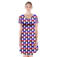 Star Pattern Short Sleeve V-neck Flare Dress