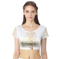 Starry Christmas Tree Holidays Short Sleeve Crop Top (Tight Fit)