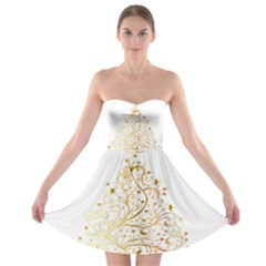 Starry Christmas Tree Holidays Strapless Bra Top Dress
