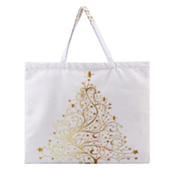 Starry Christmas Tree Holidays Zipper Large Tote Bag