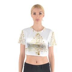 Starry Christmas Tree Holidays Cotton Crop Top