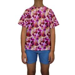 Fuchsia Flowered Kids  Short Sleeve Swimwear