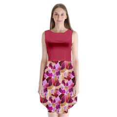 Fuchsia Flowered Sleeveless Chiffon Dress
