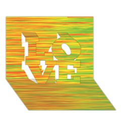Green and oragne LOVE 3D Greeting Card (7x5)
