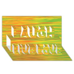 Green And Oragne Laugh Live Love 3d Greeting Card (8x4)