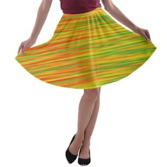 Green and oragne A-line Skater Skirt