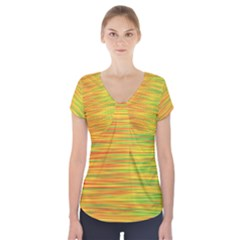 Green And Oragne Short Sleeve Front Detail Top