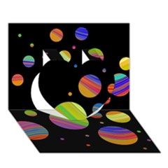 Colorful galaxy Heart 3D Greeting Card (7x5)