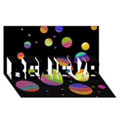 Colorful galaxy BELIEVE 3D Greeting Card (8x4)