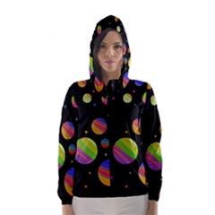 Colorful galaxy Hooded Wind Breaker (Women)