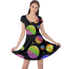 Colorful galaxy Cap Sleeve Dresses