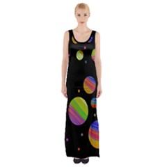 Colorful galaxy Maxi Thigh Split Dress