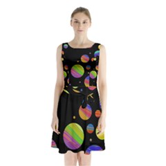 Colorful Galaxy Sleeveless Chiffon Waist Tie Dress