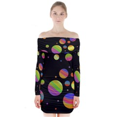 Colorful galaxy Long Sleeve Off Shoulder Dress