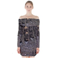 Texture Gator Skin Long Sleeve Off Shoulder Dress